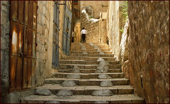 steps in the old city of Jerusalem